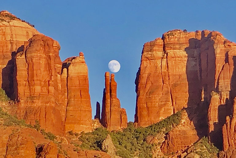 Red Rocks with moon