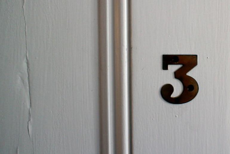 number 3 on a door