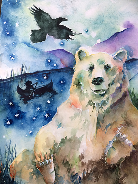 Bear and Raven - illustration by Prartho
