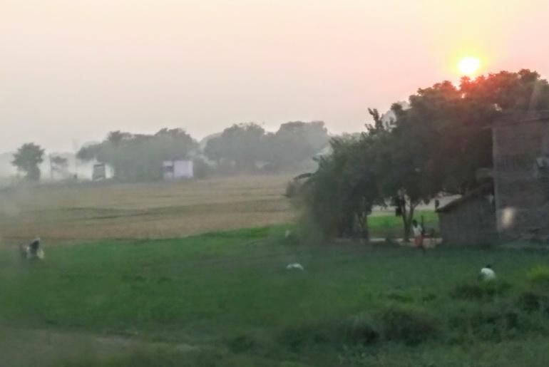 Arriving in Lumbini at sunset