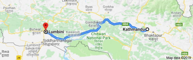 Map with route Kathmandu to Lumbini