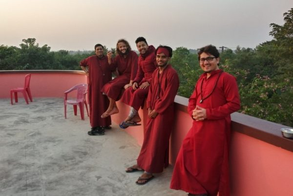 Meditators on the rooftop