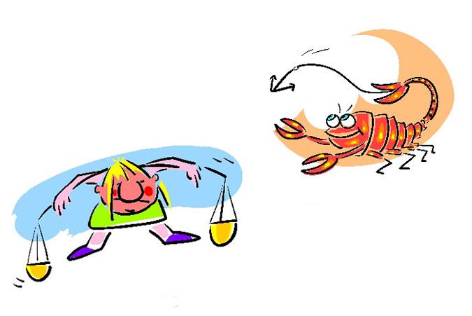 Cartoon of Libra and Scorpio