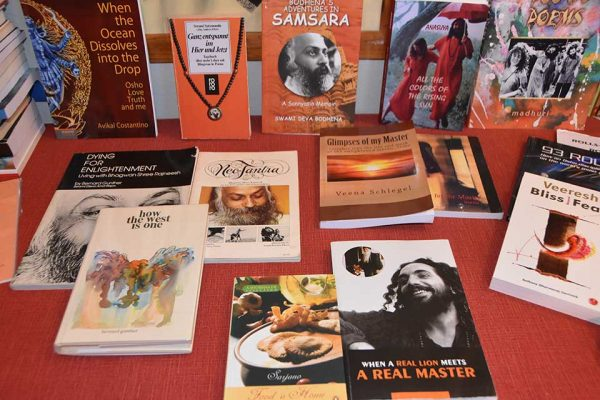 Display of books by sannyasins