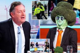 Piers Morgan and Mr Broccoli on TV