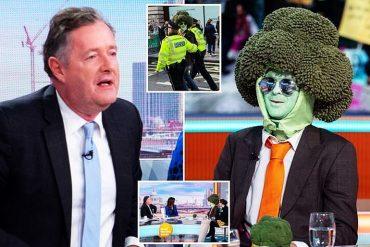 Piers Morgan and Mr Broccoli on TV