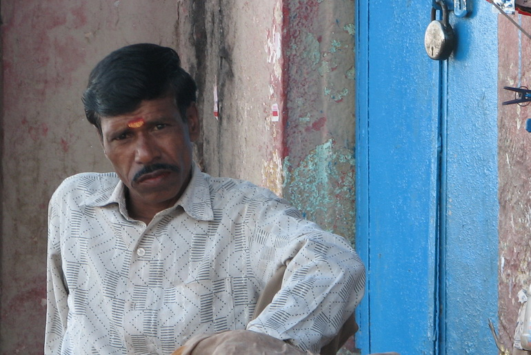 Man in Indian shop