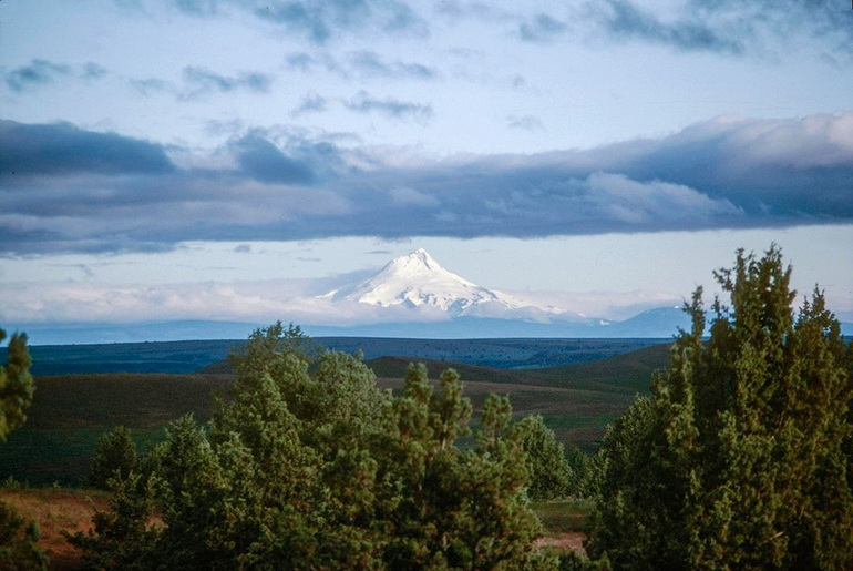 View to Mt Hood from top of Rancho Rajneesh