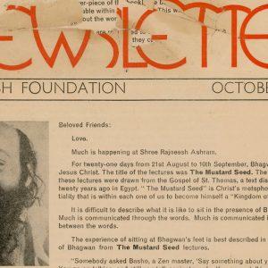 Rajneesh Foundation Newsletter October 1974