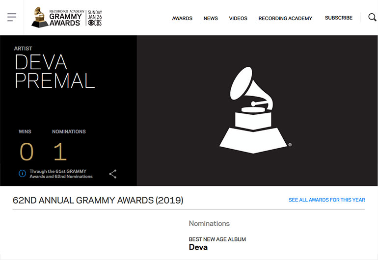 'Deva' nominated for the 2020 Grammy