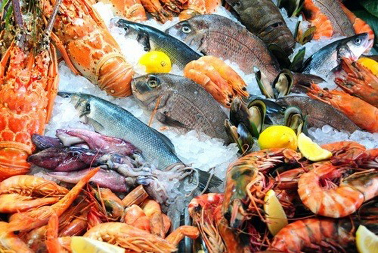 Fresh seafood market display