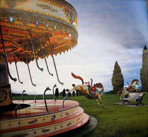 horses escaping from merry go round