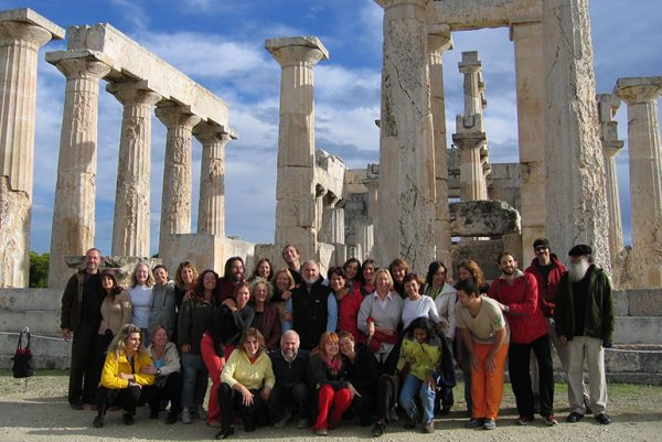 Group photo of Devageet's first group in Aegina, Greece, 2006