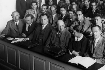 Participants at a conference in Copenhagen in 1937; Niels Bohr is in the front row, far left, next to Werner Heisenberg and Wolfgang Pauli 1937