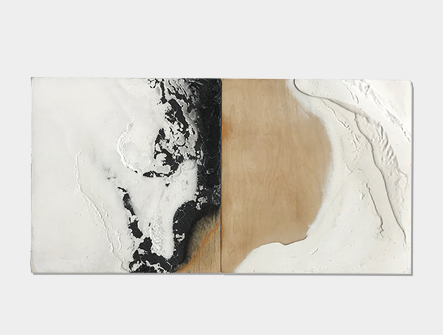 'Water's edge series' - Gypsum and charcoal on wood panels