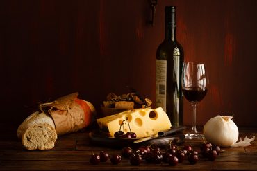 bread and wine and cheese