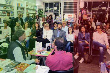Azima being interviewed in a bookshop in Palermo, 2019