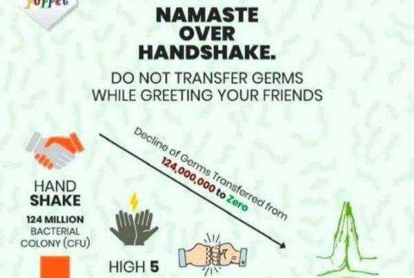 Namaste over Handshake
