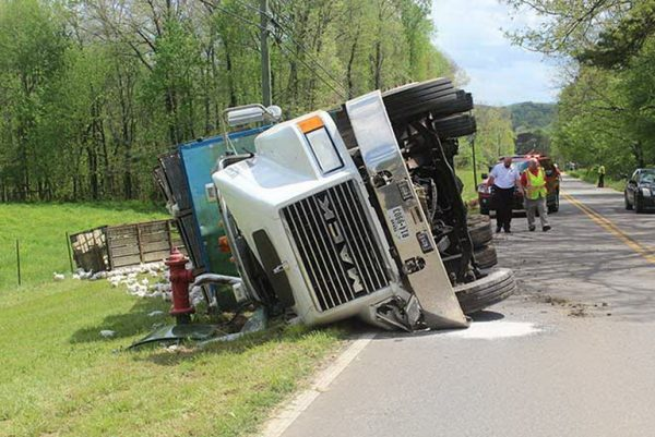 Truck rolled over