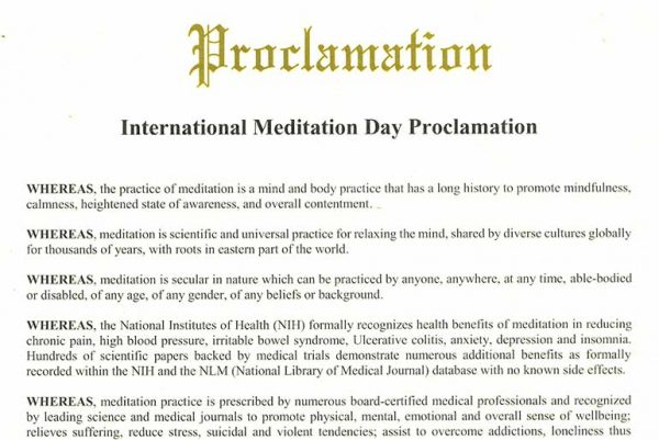 International Meditation Day Proclamation