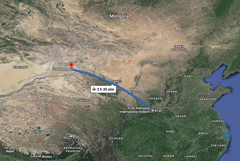 Flight route from Xi'an to Dunhuang