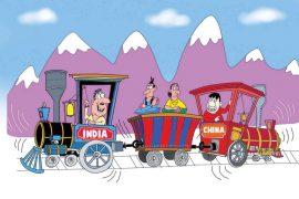 China India Nepal cartoon