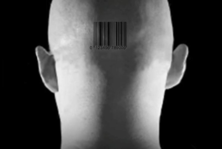 Barcode on shaven neck