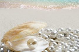 pearls on a beach
