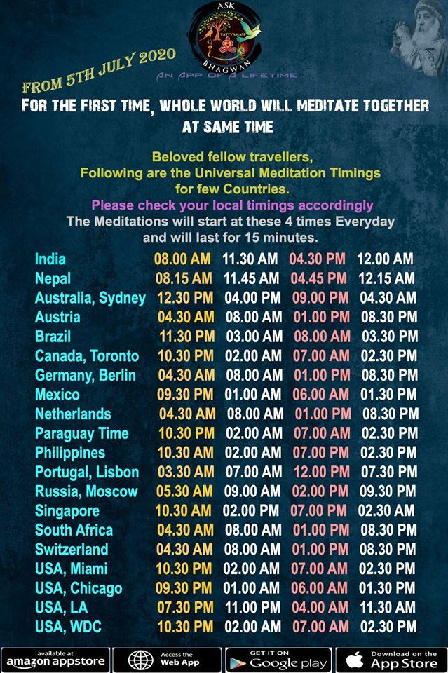 times zones for meditation program