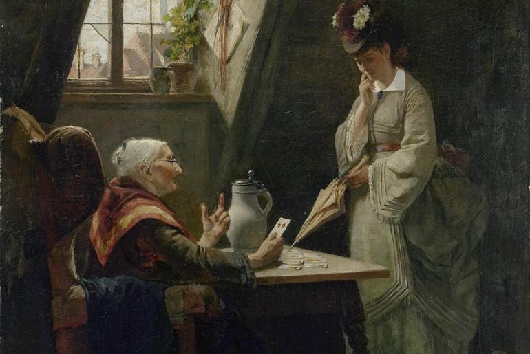 Ernst Hanfstaengl (1840-1897) - At the Cardreader's