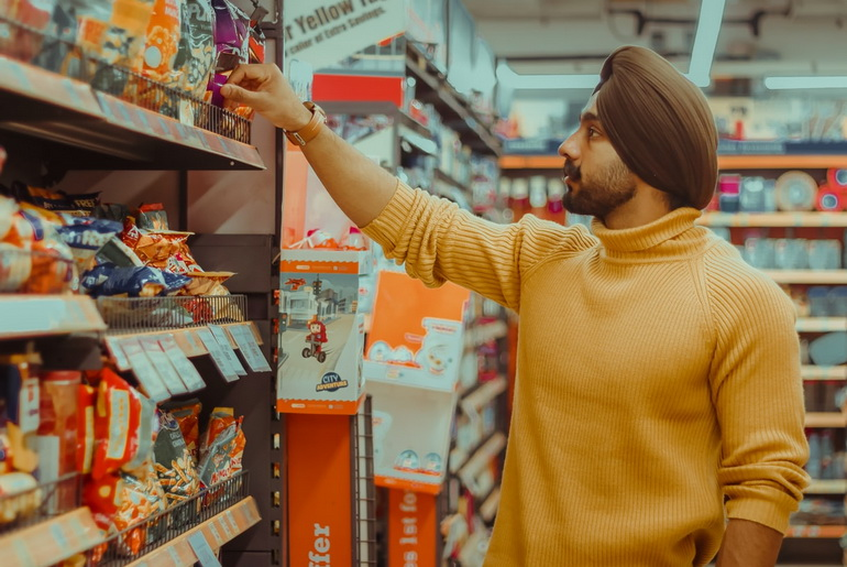 Sikh man in shopping mall