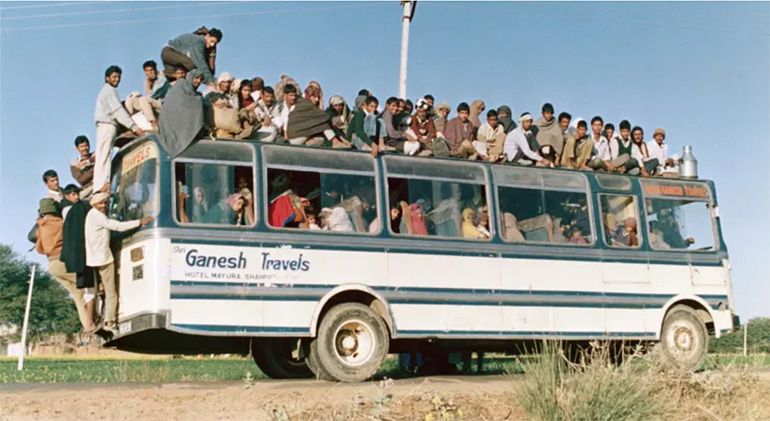 overcrowded bus