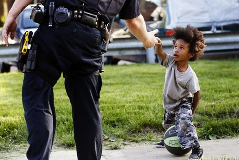 Little boy and policeman