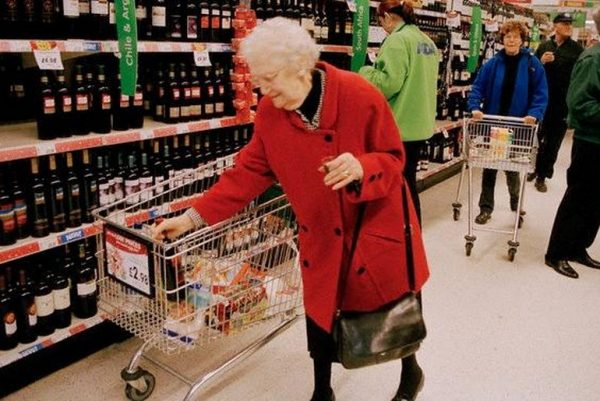 Old lady in supermarket