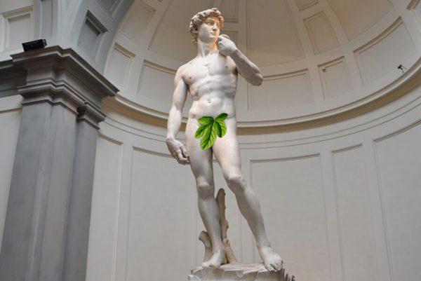 Michelangelo's David with fig leaf