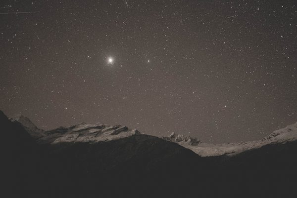 Star above mountains