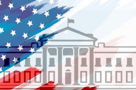 UA flag with White House composite