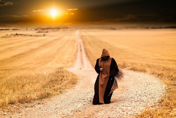 Monk on road