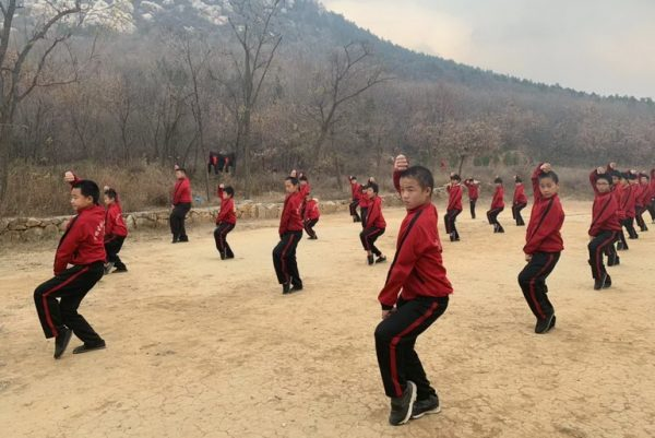 Children training kungfu
