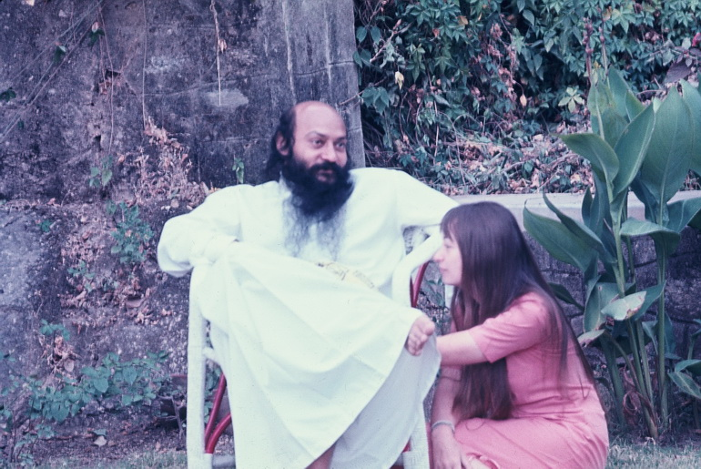 Osho and Nirvano in garden