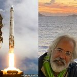 Right: Sumeru in Arillas, Corfu. Left: Launch of an earlier spacecraft he was involved in.