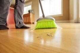 sweeping the floor