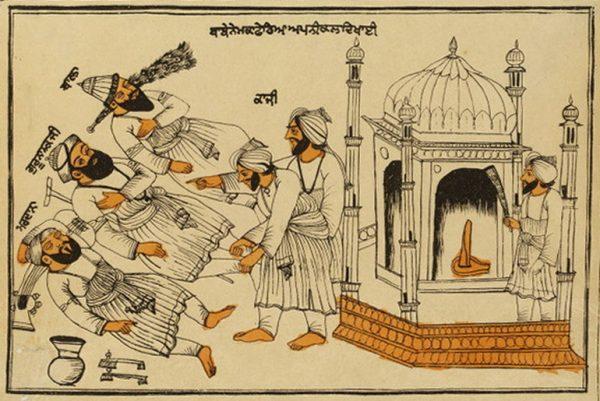 Guru Nanak with Maruana and Bala at Mecca