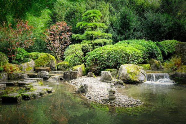 Zen garden with pond
