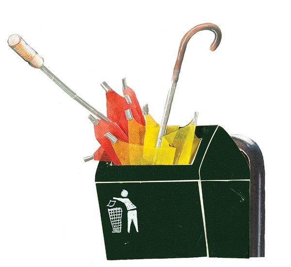umbrellas in bin