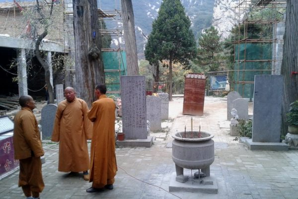 Monks and construction mess