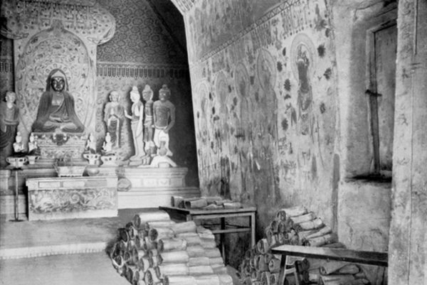 The 'Library Cave' in Dunhuang where the precious manuscripts were discovered by Aurel Stein in 1907