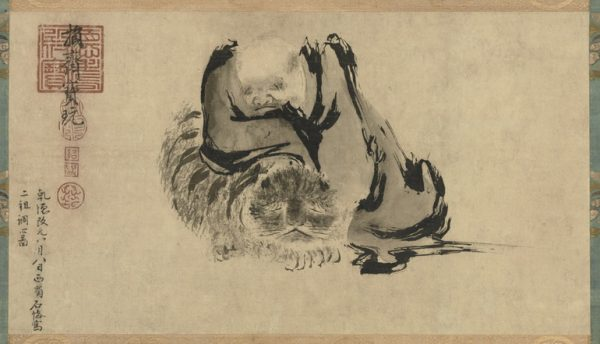 Huike and tiger. Painting attributed to Shi Ke (石恪, 10th century). Tokyo National Museum