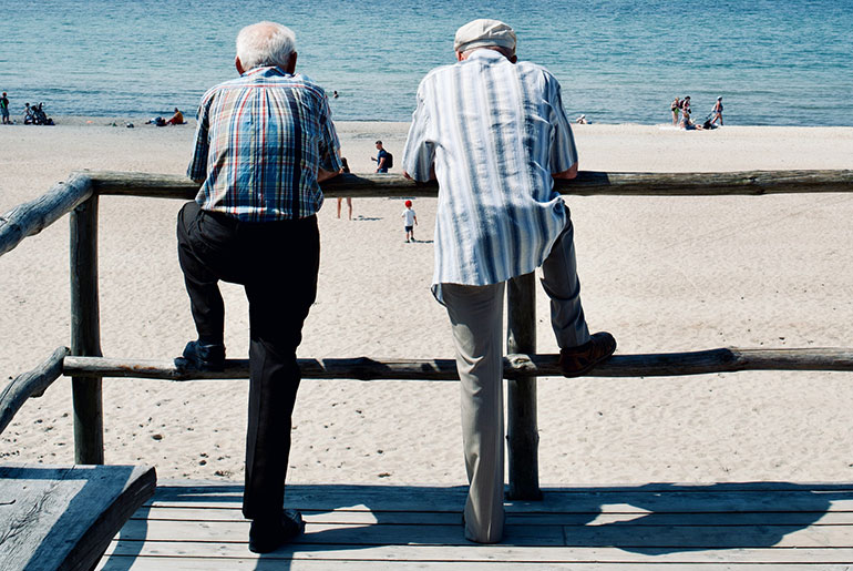 two old men at the sea